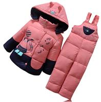 High quality children duck down jacket set winter kids boy and girl thick zipper parkas coat +bib pants 2pcs down suit snow wear