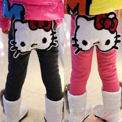On Sale! Retail 1PC 2014 Autumn Winter Kids Pants Baby Girl's Cartoon Hello Kitty Thick Fleece Pants Tights SK6(Hong Kong)