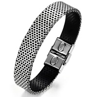 15mm Wide Cool Men Jewelry Black Silver Mixed PU Rubber Net Wristband Bangles & Bangles Stainless Steel Button Man Bracelet