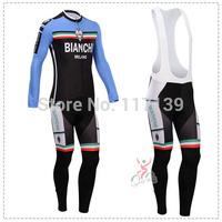NEW! 2014 bianchi Team Thermal Fleece Cycling Clothing/Cycling Wear/Long Sleeve Cycling Jersey (BIB) Suit-1G Free Shipping!