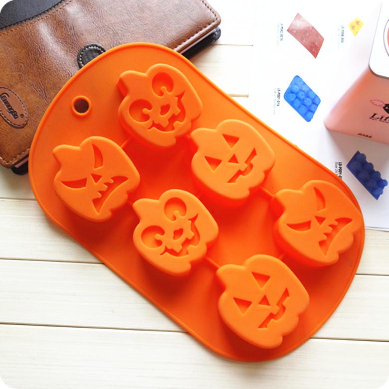 Wholesale 6 holes halloween pumpkin shaped Silicone Soap and Cake moulds Baking Pan 50 pcs/lot DHL Free shipping(China (Mainland))