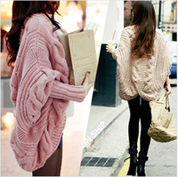 2014 New Winter clothes Bat Sleeve Cardigan Knitting Loose Shawl Ladies Thick Women Sweater coat WZ0101