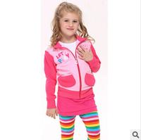 2014 new autunm girls cartoon pig coat kids cotton embroidery pink coat girls princess cloth 5pcs/lot
