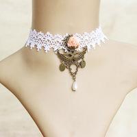 Handmade Women's Pink Flower Rose Crown Mask Pendant White Lace Bead Drop Choker Short Necklace Collar Lolita Gothic Retro Gift