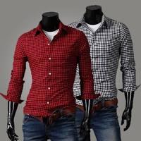 2014 Men's Shirt Plaid Flannel Long Sleeve College School Checkered Casual Mens Shirts