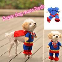 Hot Sale 1 PC Cute Superman Clothing Pet Dog Clothes/Costumes Suit Puppy Jumpsuit Halloween Style Apparel