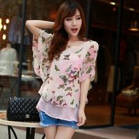 2014 spring summer sweet print loose chiffon shirt lotus leaf short-sleeve top female