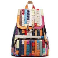 Designer genuine leather women backpack frozen cute school color block printing backpacks