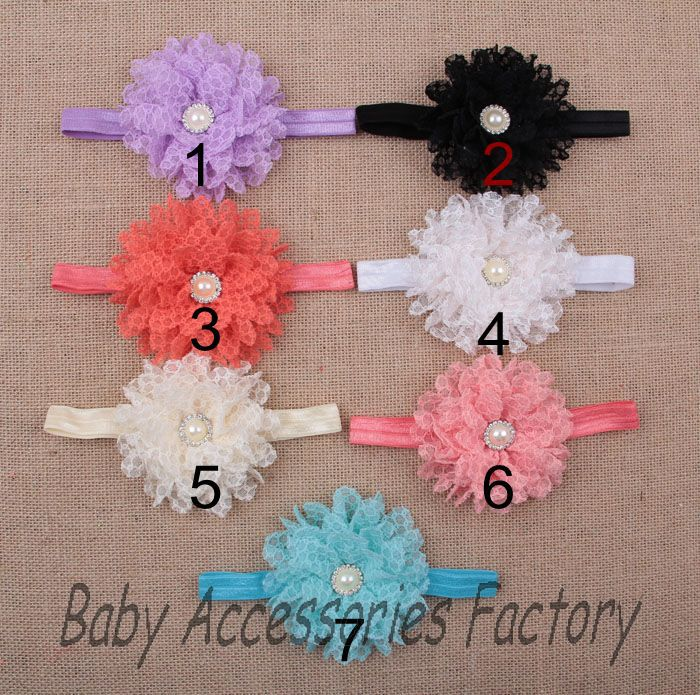 40pcs New Baby Lace Gauze Flower Headband With Rhinestone Pearl Toddler Headband Infant Hair Band Hair Accessories free shipping(China (Mainland))