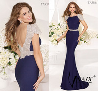 EV801 Vnaix Custom Tarik Ediz Crystal Belt Deep V Back Cap Sleeve Navy Blue Made Mermaid Evening Dress