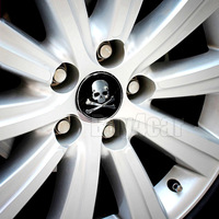 4pcs  Car Wheel Tire Center Hub Cap Skeleton Skull Emblem Badge Decal Symbol Sticker for VW BMW Ford Toyota #2346*4