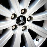4pcs  Car Wheel Tire Center Hub Cap Skeleton Skull Emblem Badge Decal Symbol Sticker for VW BMW Ford Toyota #2346*4