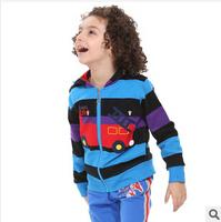 2014 new autunm boy cartoon fleece coat kids cotton stripe car coat boy fashion cloth 5pcs/lot