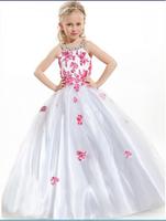 New Lovely little girl beauty pageant dress applique beading dress
