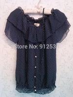 2014 ladies blouse Short sleeve chiffon unlined upper garment Lotus leaf collar dot shirt