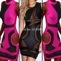 Dress 2014 new Openwork stitching sexy bandage dresses network perspective women's club dress Size S,M,L
