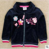 2014 new autunm girls cartoon pig coat kids cotton embroidery flower coat girls blue cloth 5pcs/lot