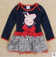 New autunm 2014 cartoon girls red long sleeve bow dress girl leopard cotton pig dress 5pcs/lot
