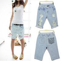 Fashion Women Short Jeans Pants 2014 New Lace denim vintage Woman Hole Denim Short S-XXXL Trousers Ladies Dog Print Pocket Pant