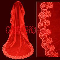 Red wedding dress bridal veil 3 meters long veil lace decoration train veil