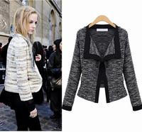 S M L XL European Style Womens Long Sleeve Knitting Spring Autumn Blazer Outerwears Coats Brand Knitted Winter Lurex Coats Drop