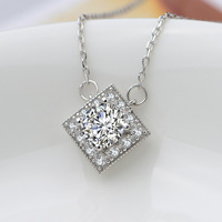 Free shipping! Fashion design 925 silver pendant with zirconia for woman square shape pendant HP0007