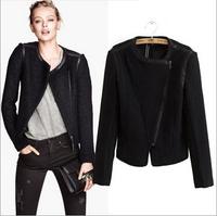women jacket woolen,2014 new European American fashion woolen PU patchwork jacket,Oblique zipper short winter jacket,L0828