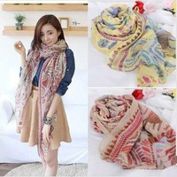 Promotion (Mix order 5Pcs) 2014 Women Classic flowers silk Scarf High quality  Long Shawl fashion casual Chiffon Scarf S4356