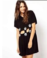 Harajuku Lady's Fashion Punk Hip-hop Palm Printed Waist Hollow Out Baggy Dresses