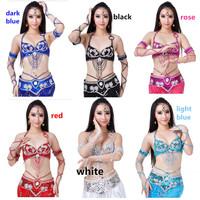 Belly Dance Costume Set Shining Paillette Bra 34C + Belt 2pcs 10 Colors