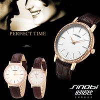 2014 New Original SINOBI Watches Men Luxury Brand Couple's Watch Waterproof Women Dress Watches with Rhinestone