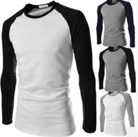 Hot Sales!New Arrival High Quality Men's T-shirt Splice Slim Casual T-shirt Fashion O-Neck Long-sleeved T-shirt 6 Colors