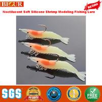 2014 limited rushed freeshipping lake fishing isca artificial prawn modeling hook bait, noctilucent soft silicone shrimp fishing