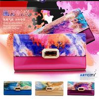 New arrive female wallet genuine leather women purse long design fashion colour painting flower women's wallets change purse