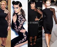 2014 spring Korean nightclub ladies  temperament Slim package hip sexy new long-sleeved lace dress  dress