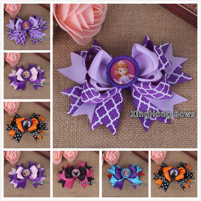 50pcs /lot 5colours 2014 bottle cap hair bows children ribbon bows 20147245(China (Mainland))