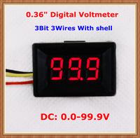"""Red  Display led Color with shell DC0-100V 0.36"""" Digital Voltmeter 3 wires 3bit Voltage Meter [10 pcs/lot]"""