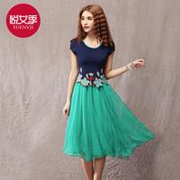 Female summer 2014 national embroidery trend chiffon elegant medium-long short-sleeve female 6161 one-piece dress