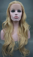 Stunning LONG Wavy Lace Front Wig Light Blond Free shipping
