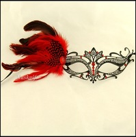 2014 Free Shipping Halloween Masquerade Metal Mask (48pcs/lot) Venetian Metal Mask With Red Stones And Feathers ME001C-RBK