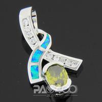 Green Peridot Pacific Blue Fire Opal Silver Fashion  Jewelry Women & Men Pendant OP207LS  Wholesale & Retail