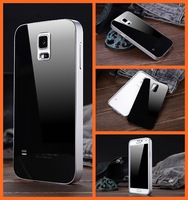 luxury S 5 metal aluminum frame acrylic back cover mobile phone case for Samsung galaxy S5 SV I9600 housing bag covers