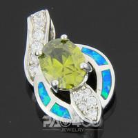 Green Peridot Pacific Blue Fire Opal Silver Fashion  Jewelry Women & Men Pendant OP240LS  Wholesale & Retail