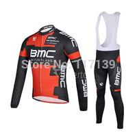 NEW! 2014 BMC Team Thermal Fleece Cycling Clothing/Cycling Wear/Long Sleeve Cycling Jersey (BIB) Suit-3G Free Shipping!