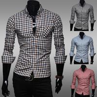 2014 Autumn Men Cotton Slim Plaid Long Sleeve Shirt Man Classic Shirts