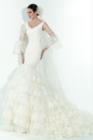 New Style White Half Sleeve Mermaid Winter Weddig dresses 2014 V-Neck V-Back Elegant Tiers Court Train Lace Bridal Gowns ..