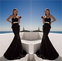 Galia Lahav Evening Dress Hot And Sexy Black Sweetheart Long Prom Dresses 2014 Evening Gown With Metal Belt Vestidos De Fiesta