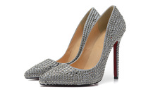 free shipping metal rhinestone pointed toe red sole 12cm high heels women pumps