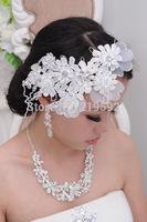 White Lace Tiaras Crown with Rhinestone Bridal Hair Wear Bridal Hair Jewelry Decoration