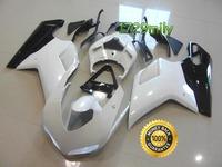 Custom Design 07 08 For Ducati 848 1098 1198 ABS Plastic Fairings Pearl White Black FFKDU004
